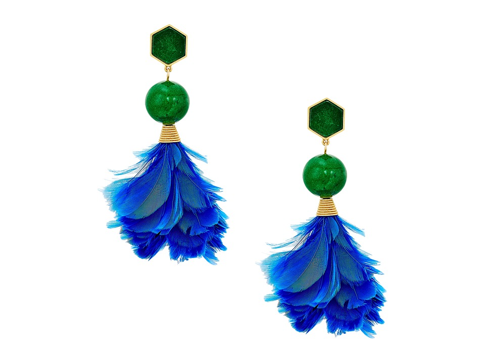 Tory Burch Feather Drop Earrings (Lapis/Vintage Gold) Ear...