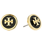 Tory Burch Lacquered Raised Logo Stud Earrings
