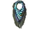 Tory Burch Diamond Plaid Square Fringe Scarf