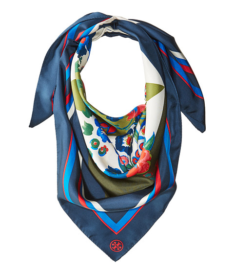 Tory Burch Pansy Bouquet Silk Square Scarf - Pansy Bouquet