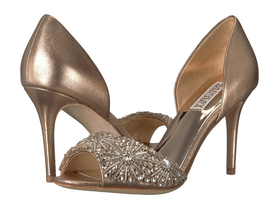 Badgley Mischka Maria (Rose Gold Metallic Suede) High Heels