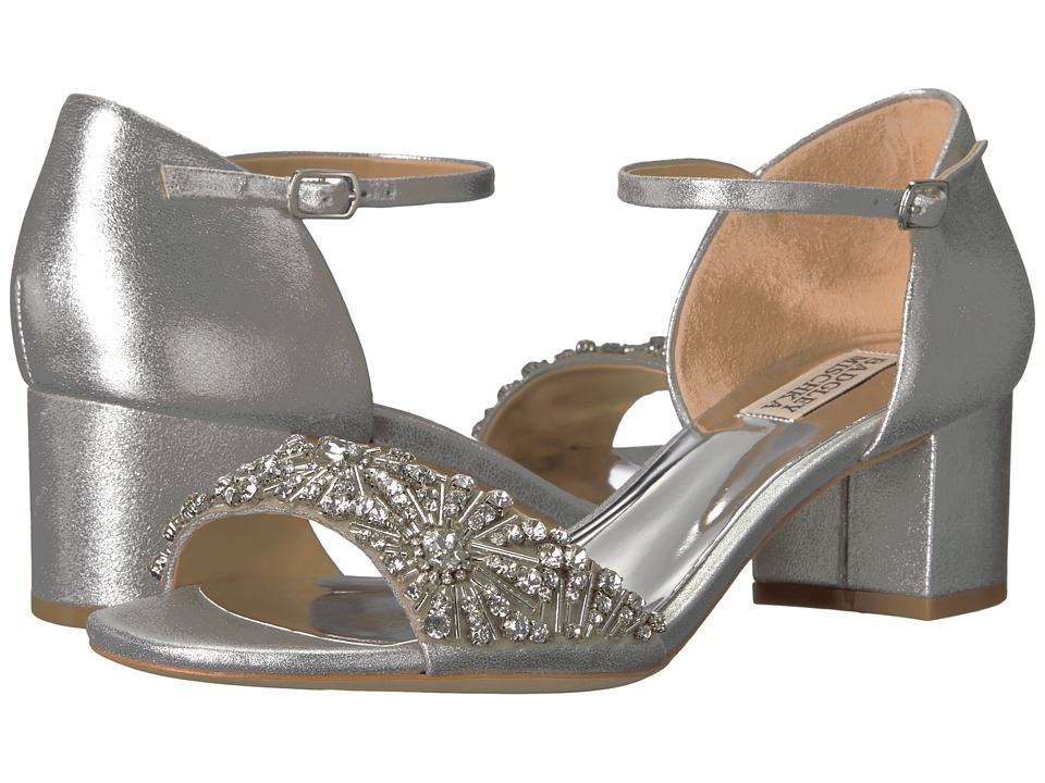 Badgley Mischka Mareva (Silver Metallic Suede) High Heels
