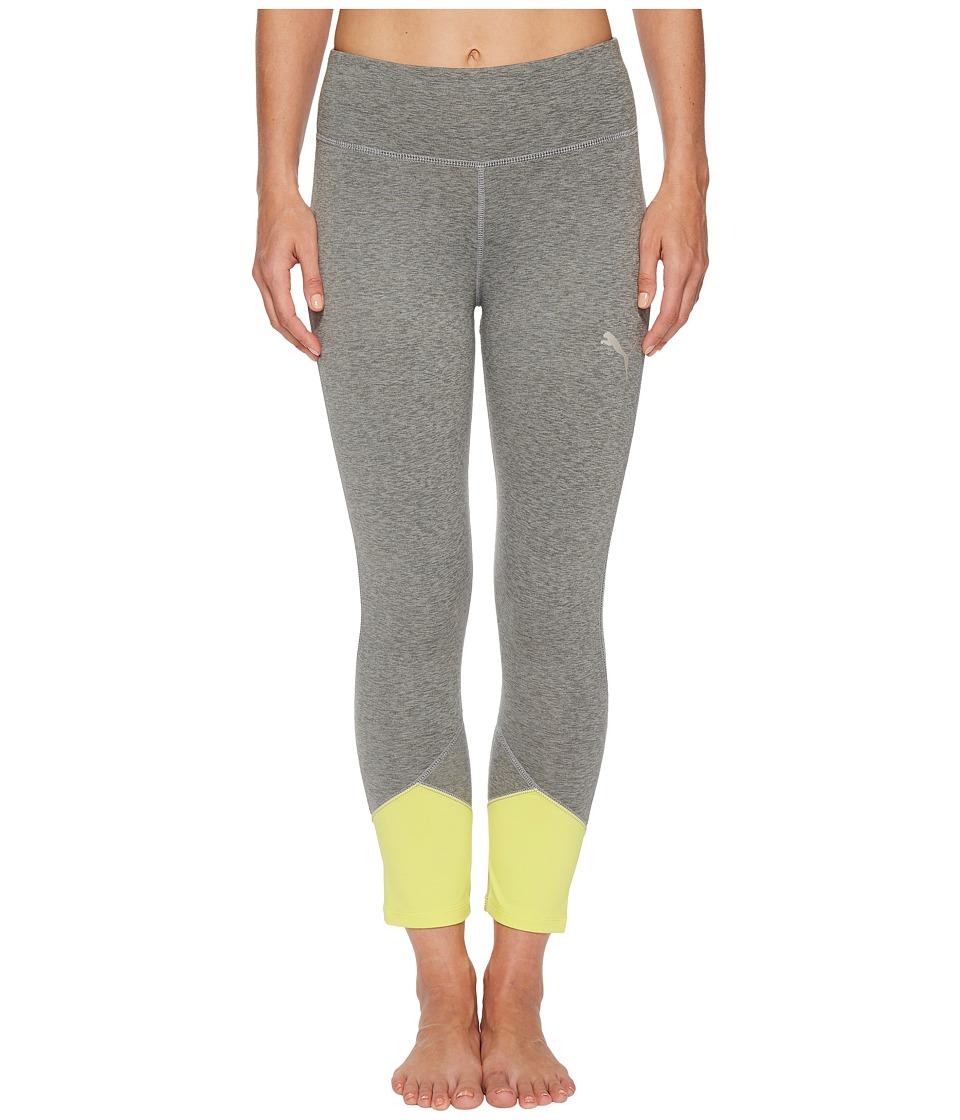 PUMA Spark Logo 3/4 Tights (Medium Gray Heather/Lemon Tonic) Women