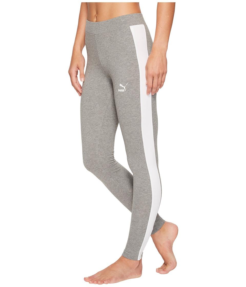 PUMA Classics Logo T7 Leggings (Medium Gray Heather) Women