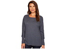 Allen Allen Stripe Long Sleeve Raglan Crew with Cuffs