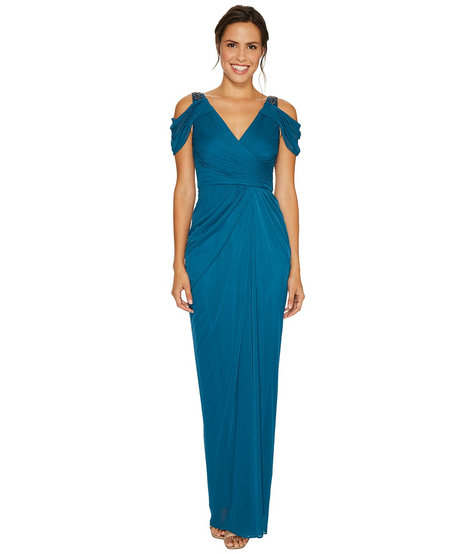 Adrianna Papell Cold Shoulder Rouched Stretch Tulle Dress with Beaded Details (Deep Teal) Women