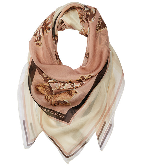 Vince Camuto Romantic Floral Square Scarf - Blush/Nude