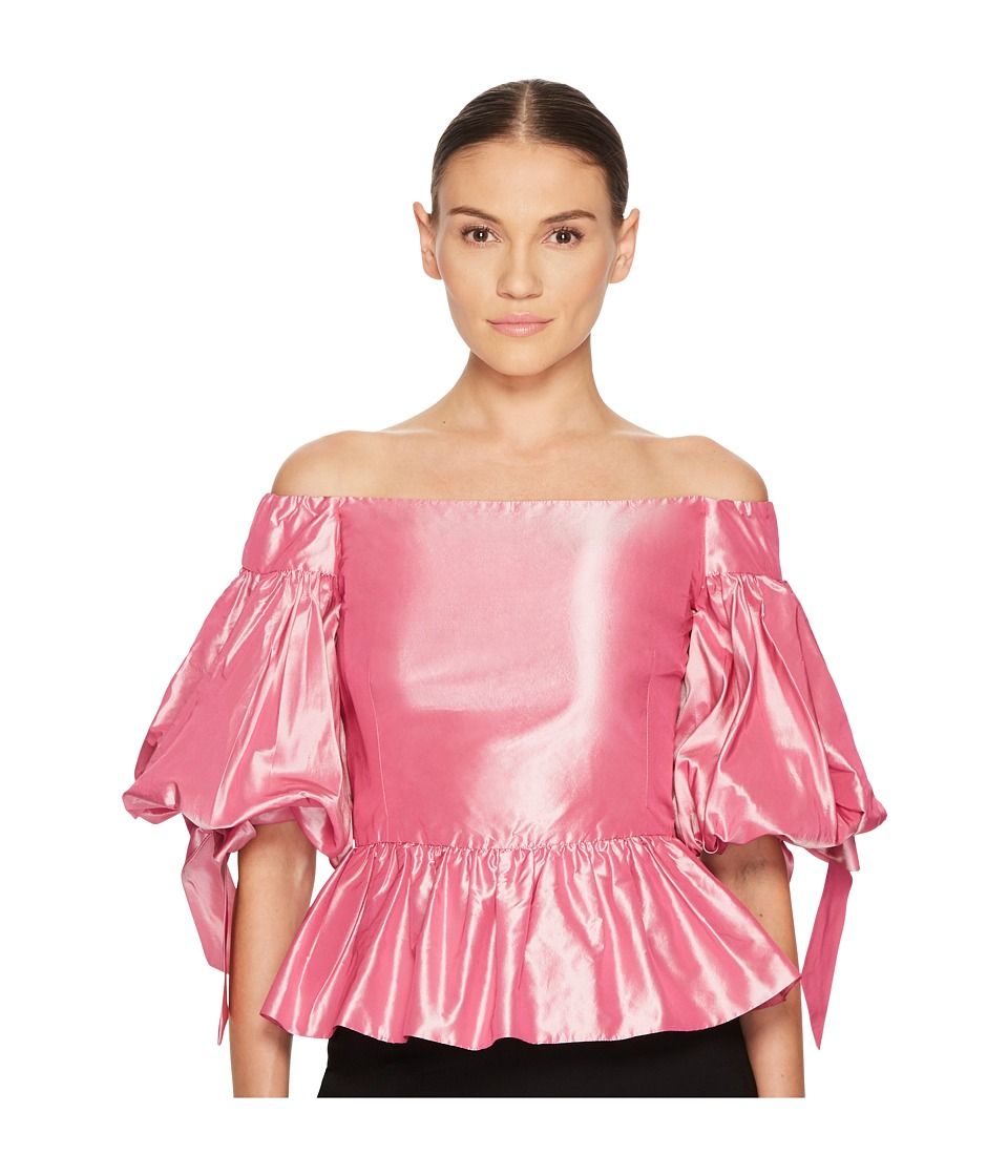 Marchesa - Solid Off the Shoulder Peplum Top in Taffeta