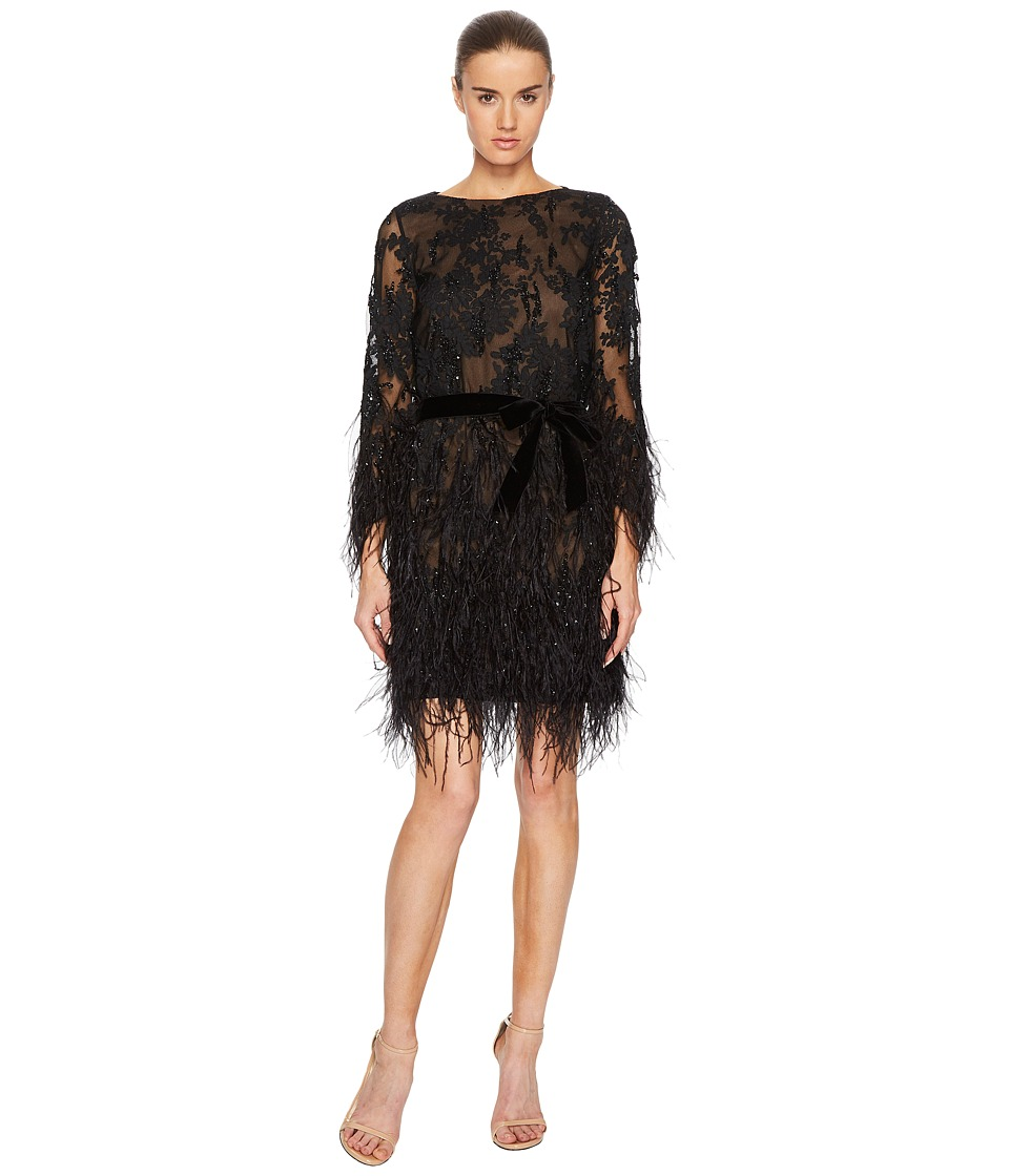 Marchesa - Long Sleeve Lace Tunic w/ Ao Beaded Embellishment and Feather Embroidery (Black) Womens Dress