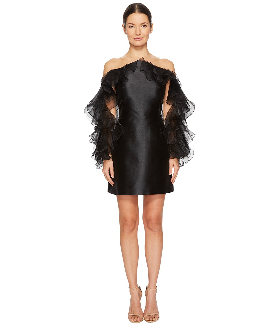 Marchesa - Illusion Halter Cocktail in Mikado w/ Tulle and Organza Ruffle Sleeves (Black) Womens Dress
