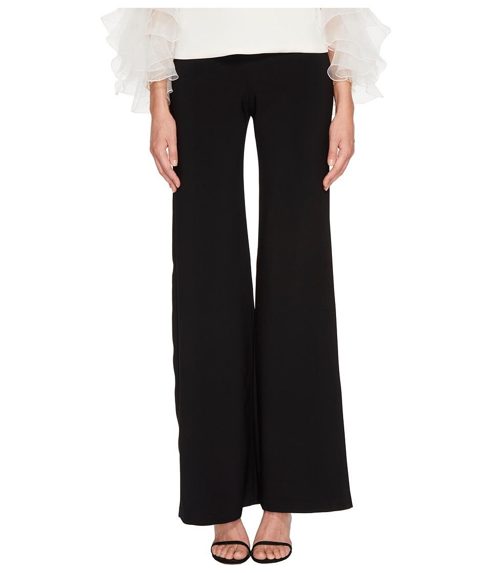 Marchesa - Classic Wide Leg Crepe Pants (Black) Womens Casual Pants