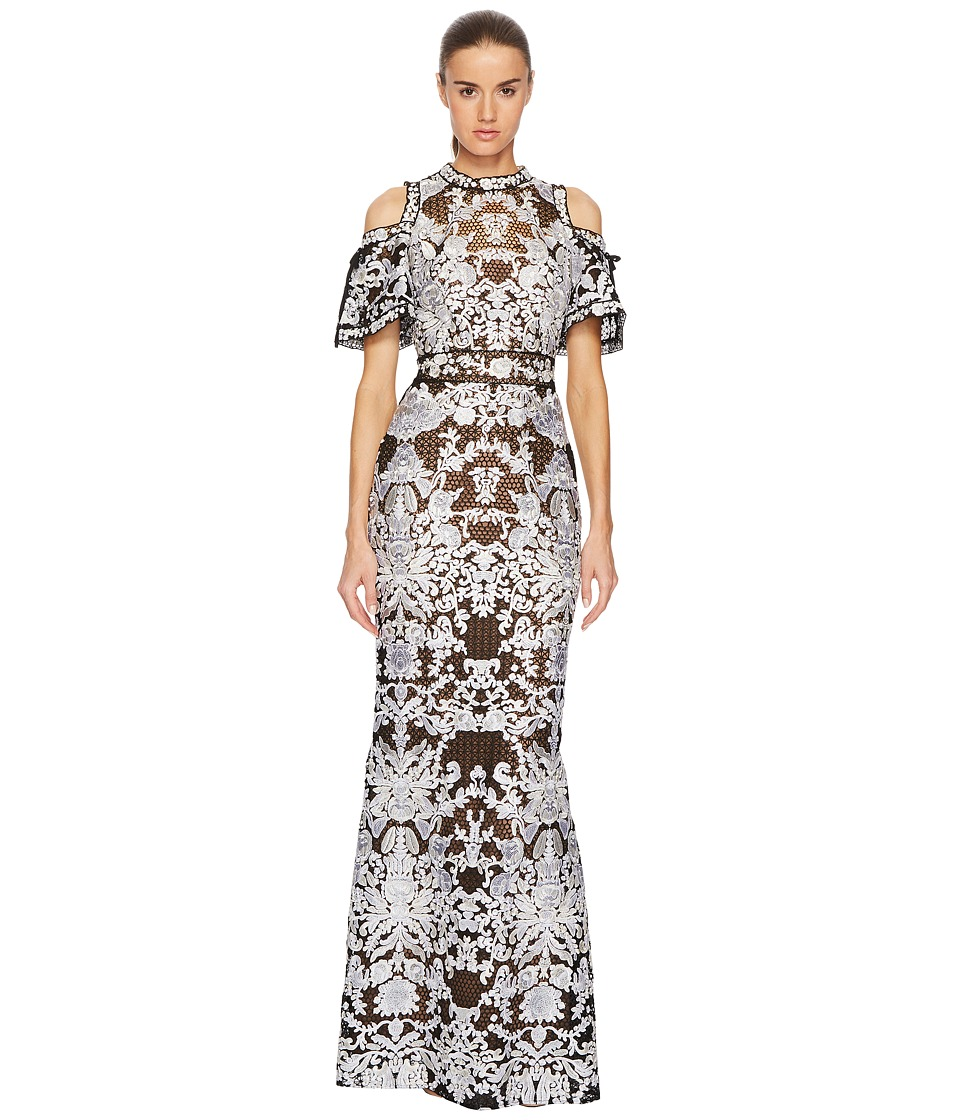 Marchesa Notte - Cold Shoulder Guipure Gown with Flounce (Black/White) Womens Dress