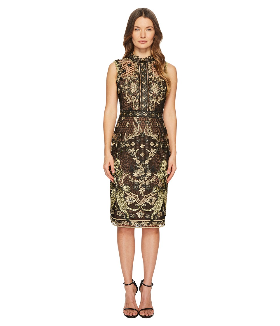 Marchesa Notte - Guipure Cocktail and Border Detail (Black) Womens Dress