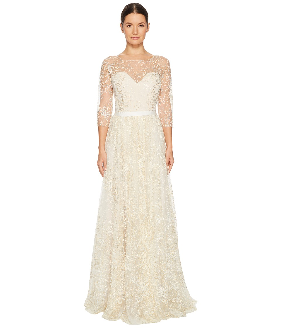 Marchesa Notte 3/4 Length Sleeve Glitter Tulle Gown with Ribbon at Waist (Ivory) Women
