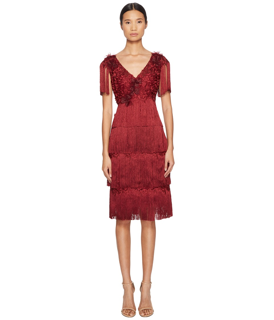 Marchesa Notte - 3/4 Tiered Fringe Cocktail (Wine) Womens Dress