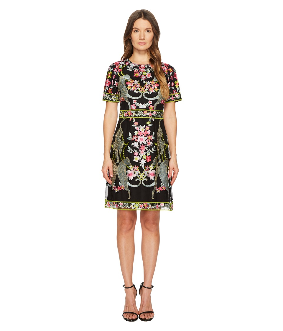 Marchesa Notte - Short Sleeve Thread Embroidered Cocktail (Black) Womens Dress
