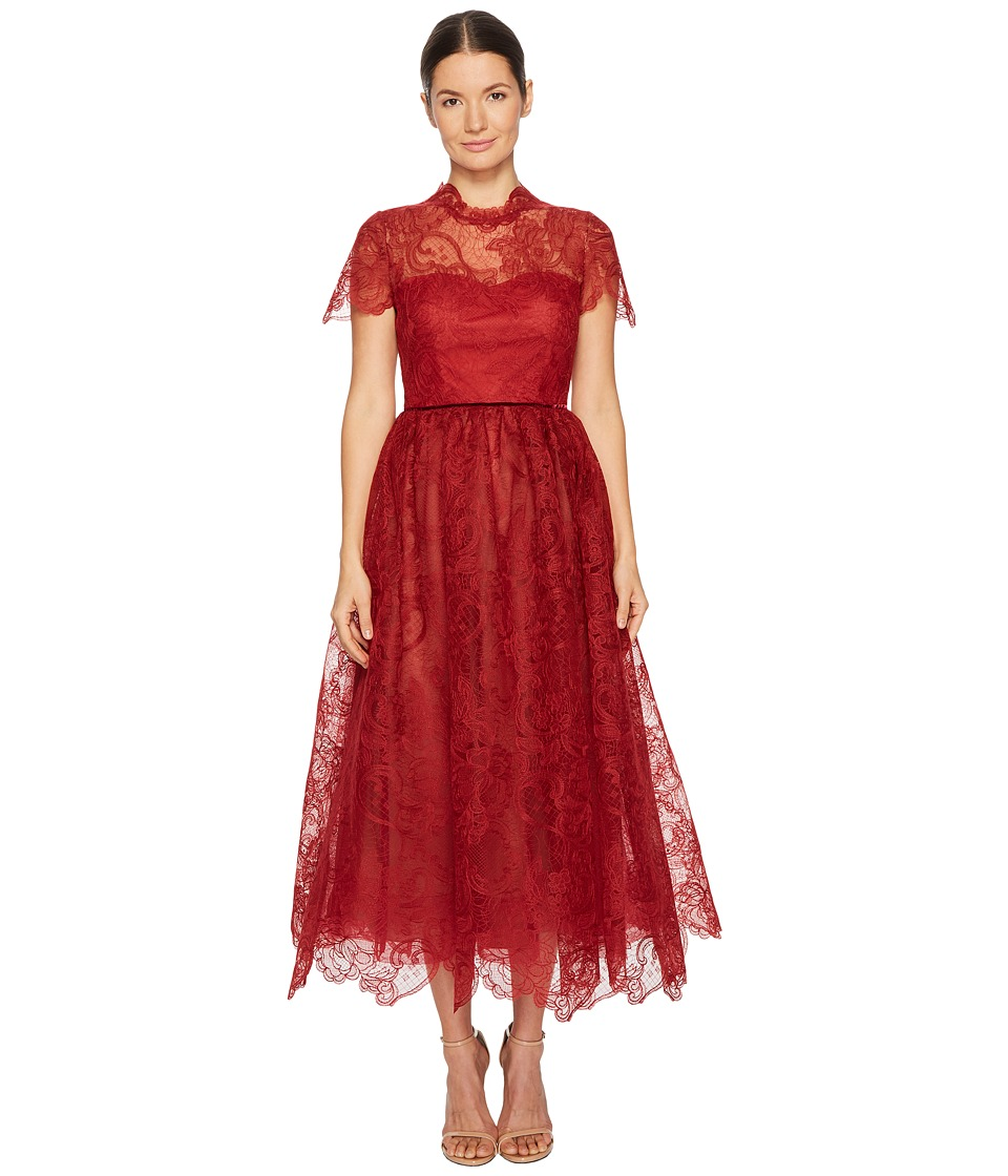 Marchesa Notte Short Sleeve Wired Lace Tea Length Gown with Velvet Ribbon (Red) Women