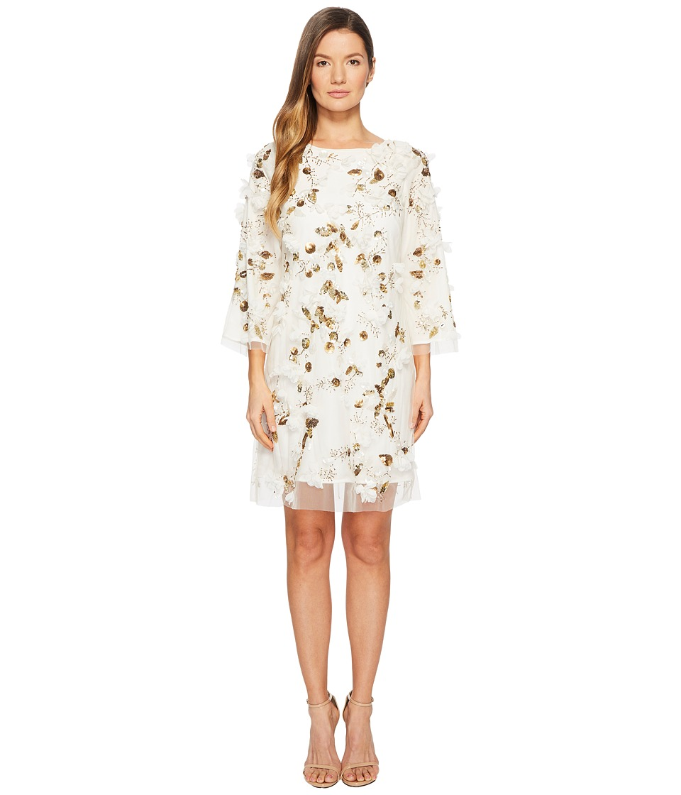 Marchesa Notte - Embroidered Tunic with Sequins and Beads (Ivory) Womens Dress