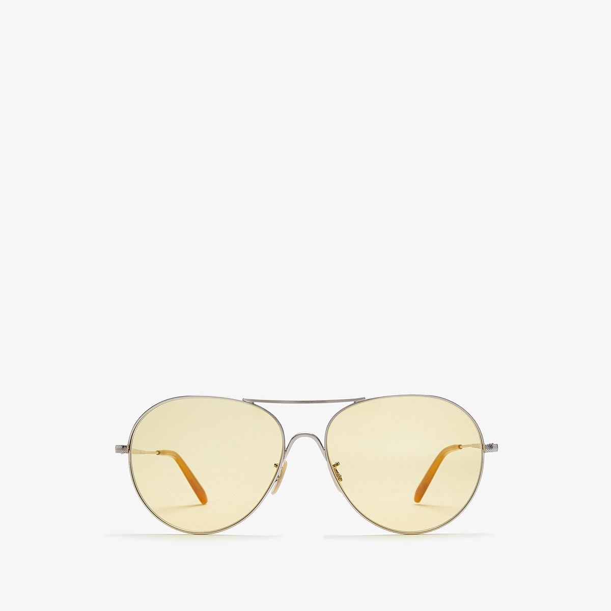 Oliver Peoples Rockmore (Brushed Silver/ Yellow Wash) Fashion Sunglasses