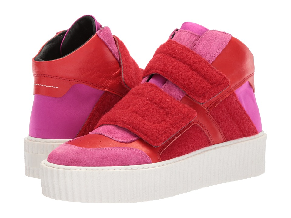 MM6 Maison Margiela - Hook and Loop High Top (Pink Red/Pink Red) Womens Shoes