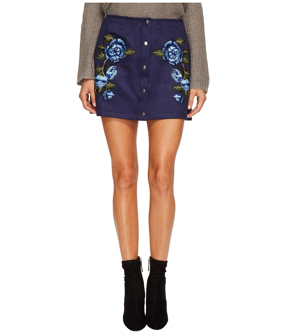 Jack by BB Dakota Caliyn Scuba Faux Suede Skirt with Floral Patches (Medieval Blue) Women