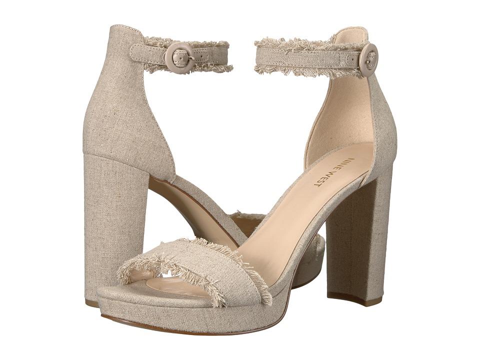 Nine West Daranita Platform Heel Sandal (Beige Chic Linen) High Heels