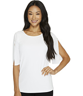 Calvin Klein - Short Sleeve Slit Sleeve Blouse with Hardware