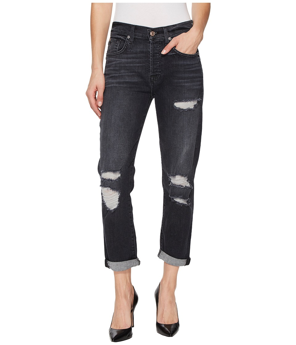 7 For All Mankind - High-Waist Josefina w/ Destroy in Vintage Bedford Black 2