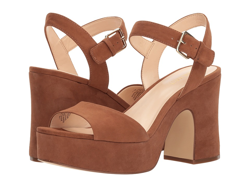 Nine West Fallforu Heel Sandal (Dark Hazel Isa Kid Suede) High Heels