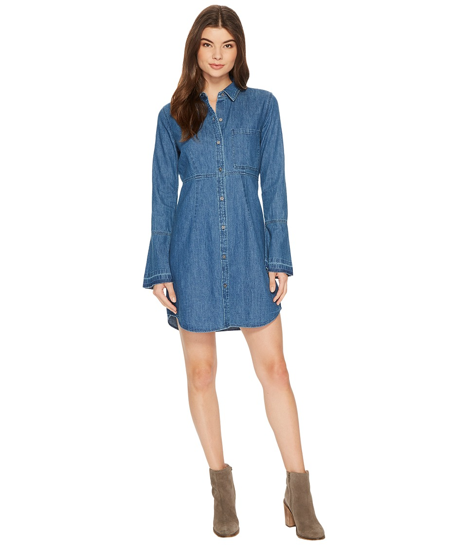 7 For All Mankind - Bell Sleeve Denim Shirtdress in Pico Blue