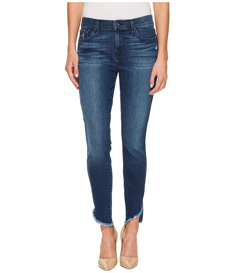 7 For All Mankind The Ankle Skinny w/ Raw Angled Hem in 5th Ave (5th Ave) Women