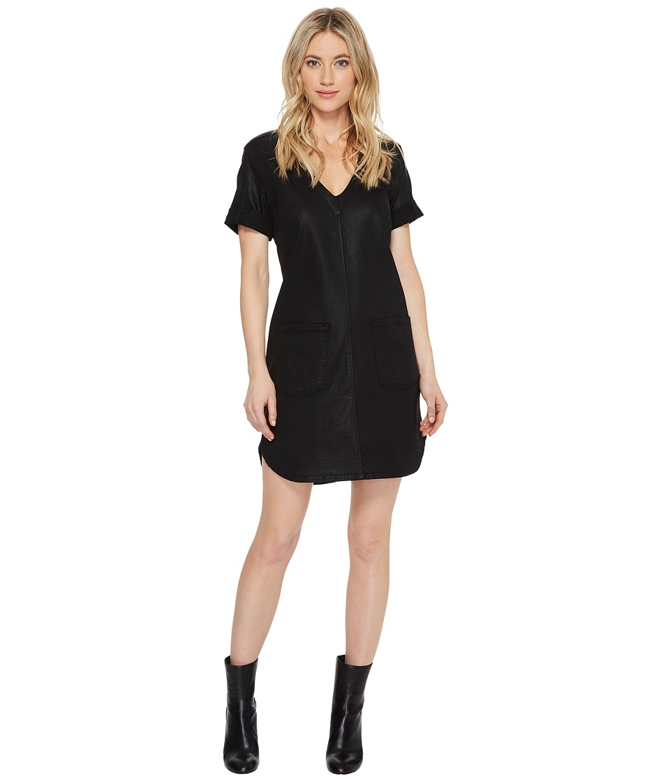 7 For All Mankind - Short Sleeve Popover Dress in Coated Black