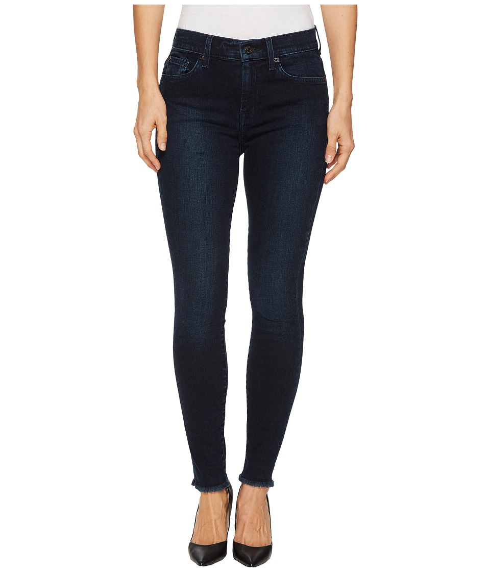 7 For All Mankind - High Waist Ankle Skinny w/ Raw Hem in Smoked Indigo