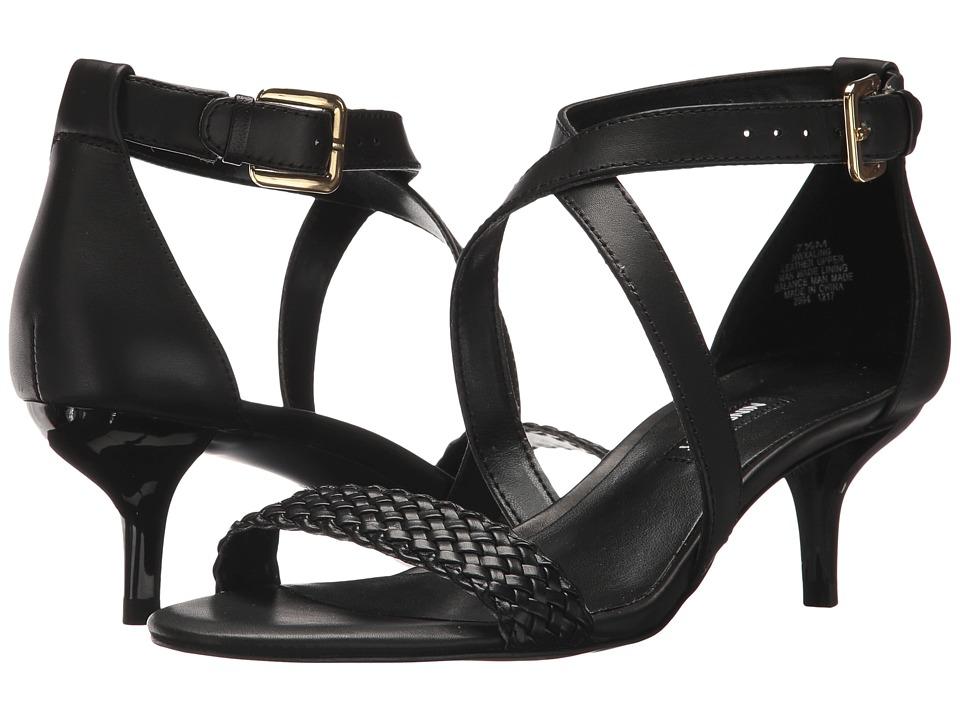 Nine West Xaling Strappy Heel Sandals (Black/Black Dress Calf/Engineered Woven) High Heels