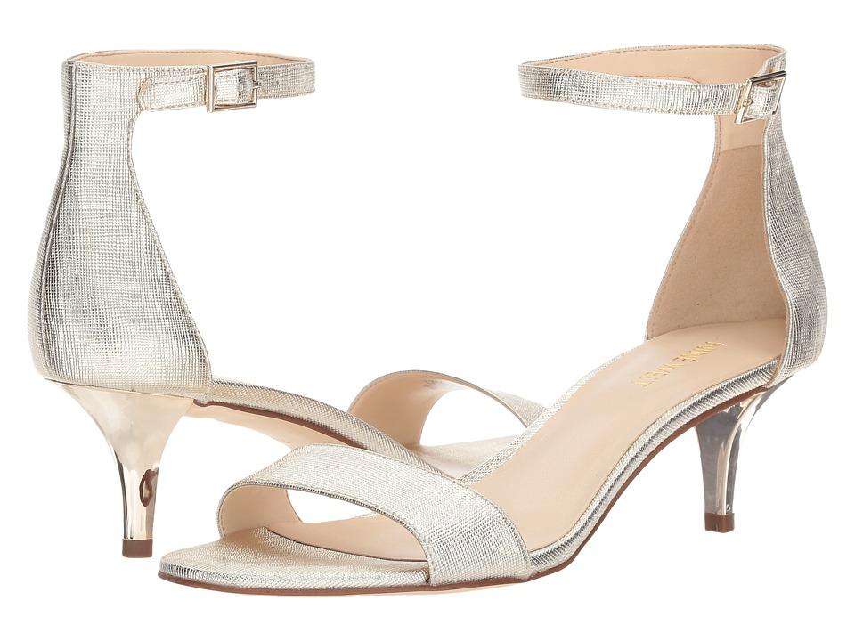 Nine West Leisa Heel Sandal (Platino Etched Metallic PU) Women