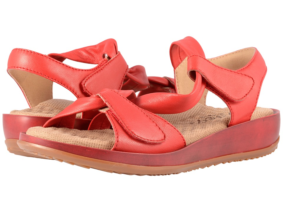 SoftWalk Del Rey (Red Really Soft Leather) Sandals