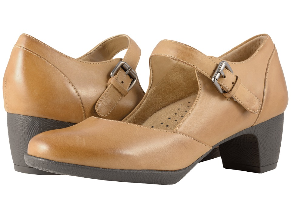 Vintage Style Shoes, Vintage Inspired Shoes SoftWalk - Irish II Tan Soft Leather Womens Hook and Loop Shoes $99.95 AT vintagedancer.com