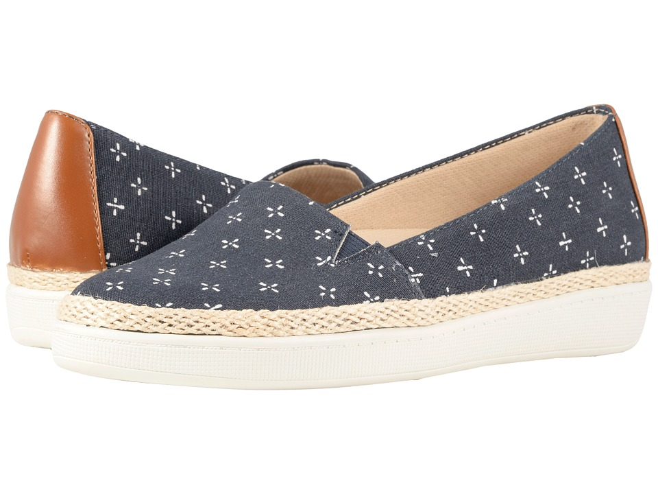 Trotters - Accent (Navy/White Printed Textile) Womens Slip on  Shoes