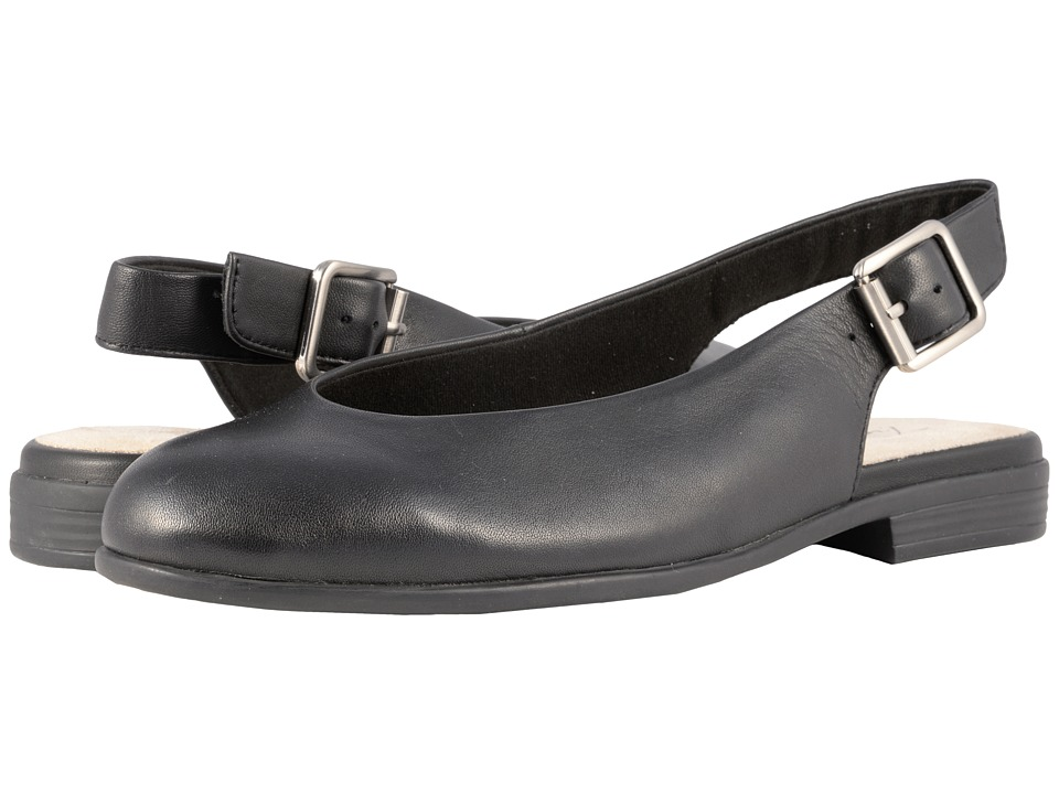 Retro Vintage Flats and Low Heel Shoes Trotters - Alice Black Soft Leather Womens Slip on  Shoes $99.95 AT vintagedancer.com