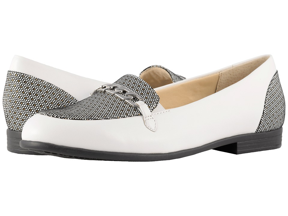 Trotters Anastasia (White Soft Leather/Foil Dots) Flats