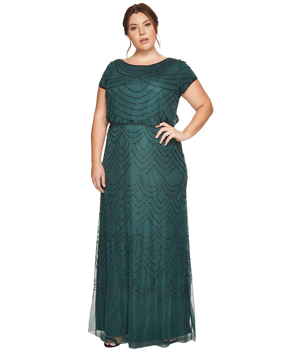 Adrianna Papell Plus Size Short Sleeve Blouson Beaded Gown (Dusty Emerald) Women
