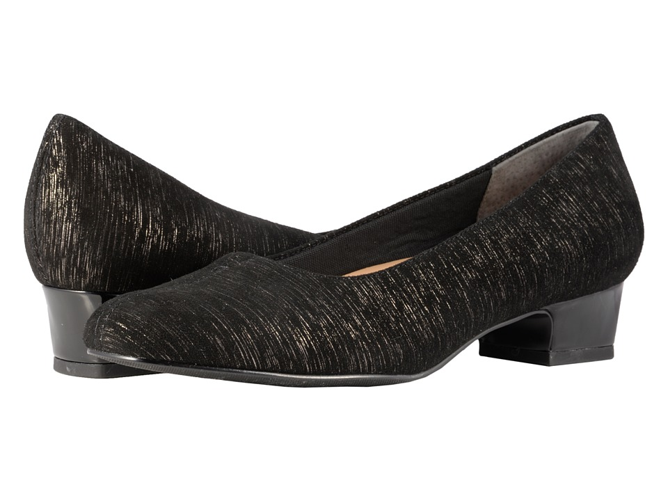 Trotters Doris (Black Printed Metallic Leather) Women's Dress Flat Shoes