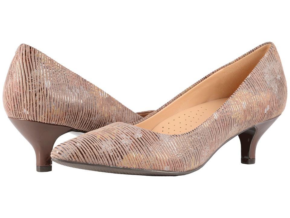 Trotters Kiera (Tan Multi Metallic Foil Leather) 1-2 inch heel Shoes