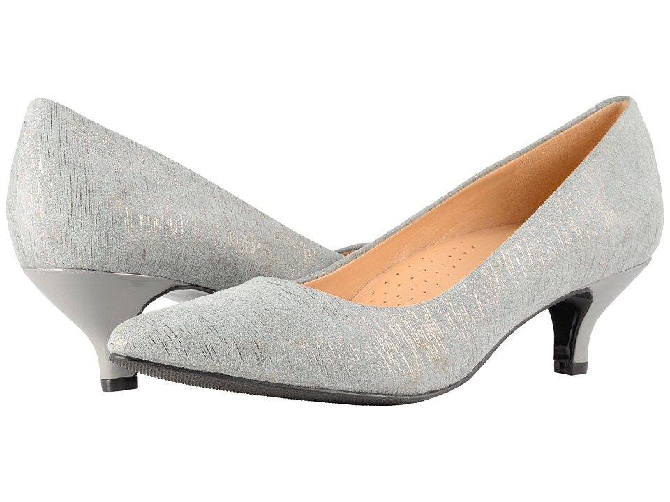 Trotters Kiera (Grey/Silver Metallic Printed Leather) 1-2 inch heel Shoes