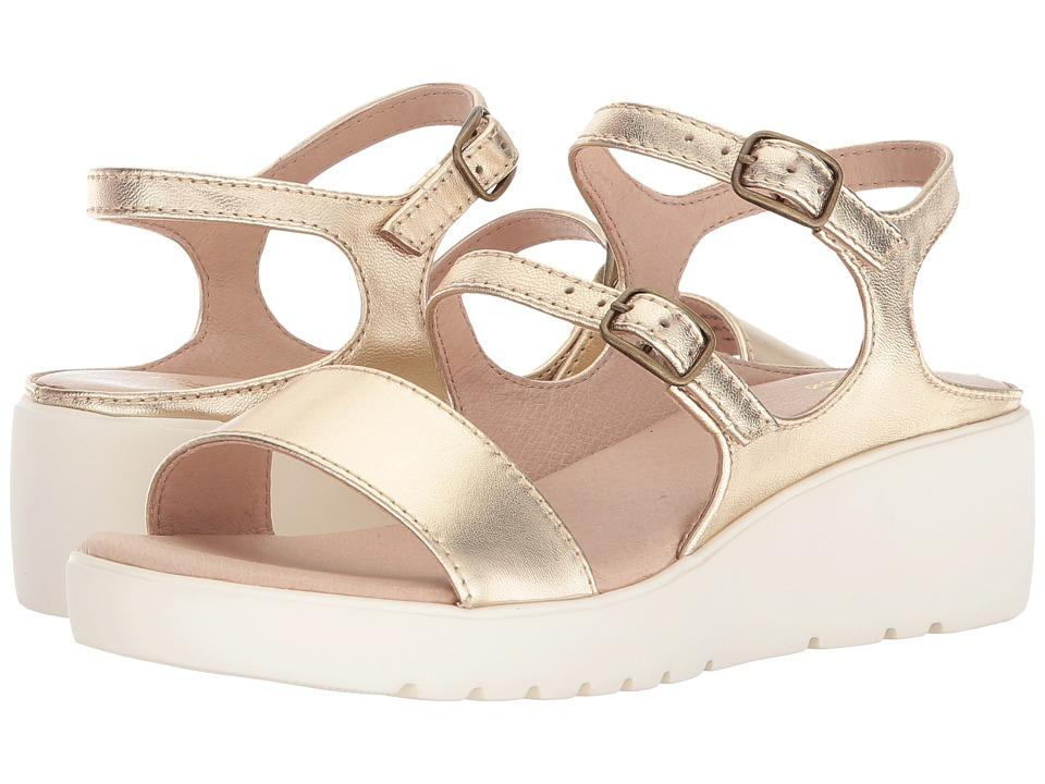 Johnston & Murphy - Clara (Pale Gold Metallic Nappa) Womens Sandals