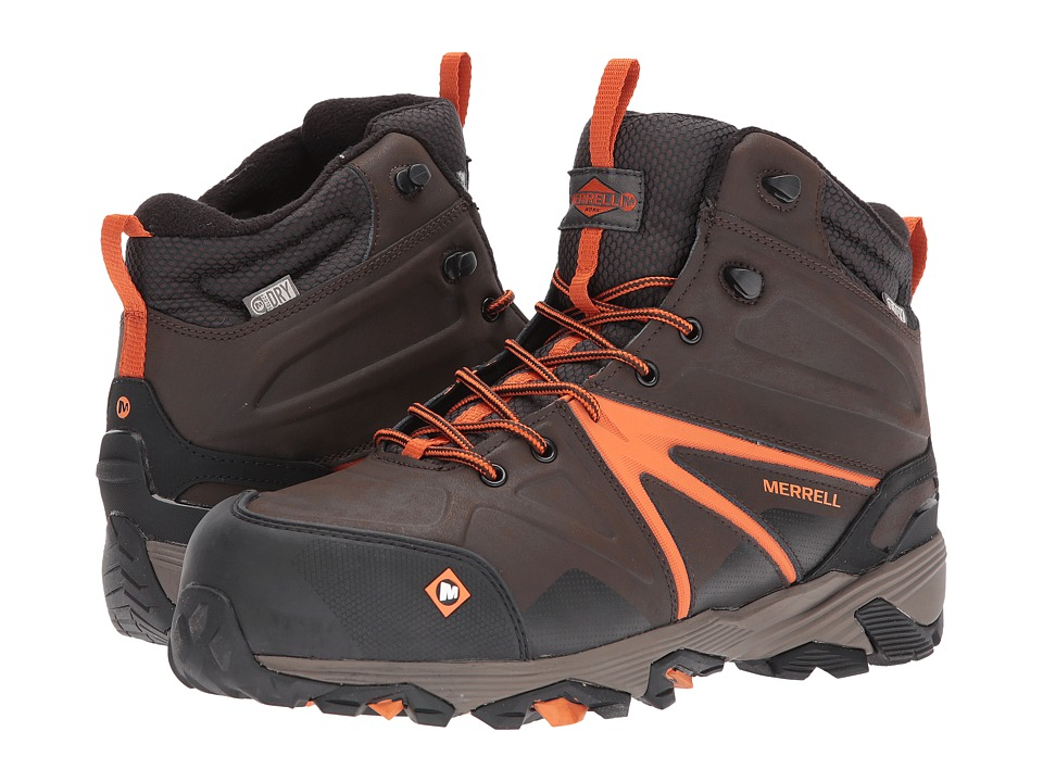 Merrell Work - Trailwork Mid Waterproof CT (Espresso) Mens Work Lace-up Boots