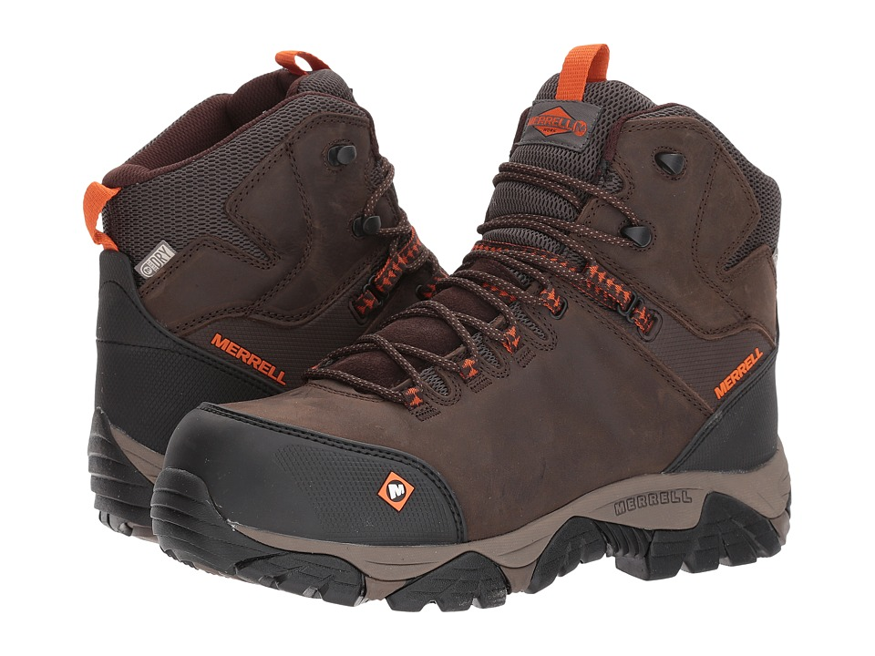 Merrell Work - Phaserbound Mid Waterproof CT (Espresso) Mens Work Lace-up Boots