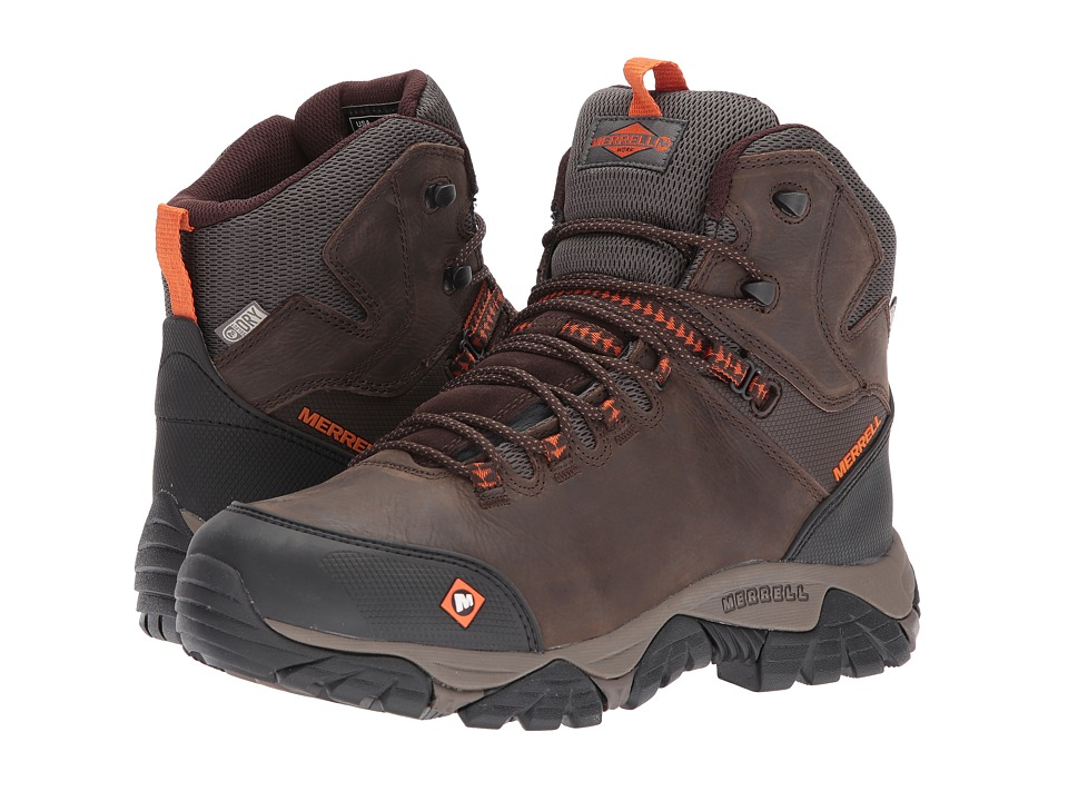Merrell Work - Phaserbound Mid Waterproof SR (Espresso) Mens Work Lace-up Boots