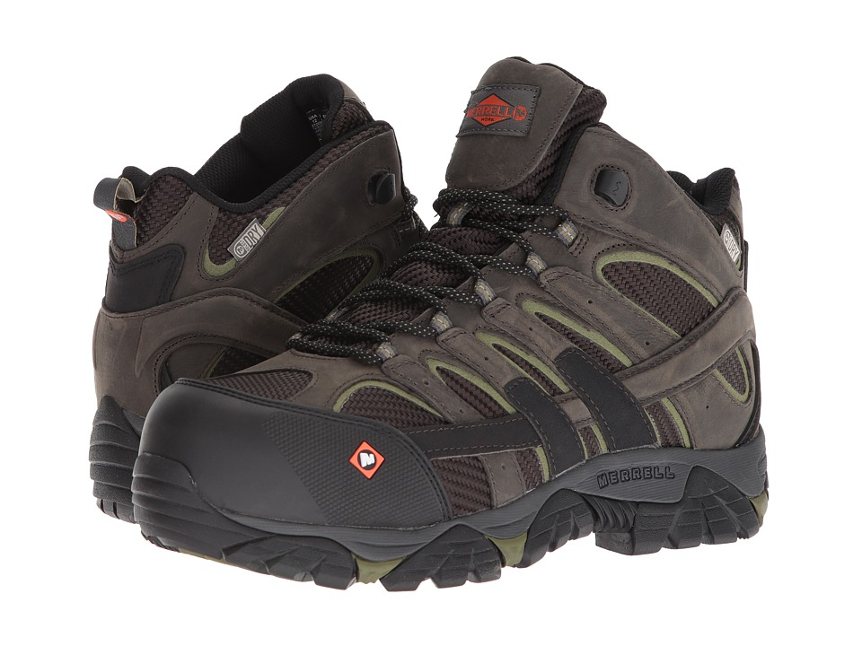 Merrell Work - Moab 2 Vent Mid Waterproof CT (Pewter) Mens Work Lace-up Boots