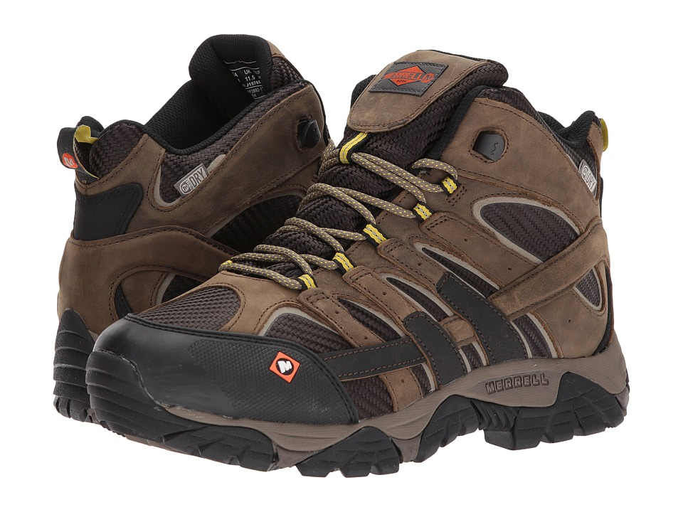 Merrell Work - Moab 2 Vent Mid Waterproof SR (Boulder) Mens Work Lace-up Boots